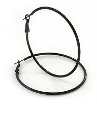 Pair of Black 50mm Stainless Steel Big Large Round Circle Hoop Hoops Earrings