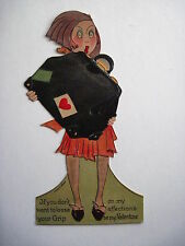 Large Vintage Antique German Valentine w/ Die Cut Lady With Valise *