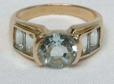 14K Aquamarine Ring Round & Emerald Cut 2.60TCW 5gr YG Semi Bezel
