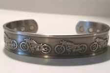 MOTORCYCLES RAISED SILVER COPPER CUFF BRACELET MENS MAGNETIC PRO HEALTH