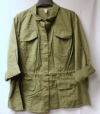 NEW WOMENS PLUS SIZE 3X OLIVE CAMO GREEN MILITARY BUTTON UP SHIRT LIGHT JACKET