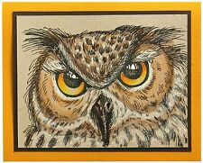 Halloween Owl Eyes, Wood Mounted Rubber Stamp STAMPENDOUS, NEW - R268