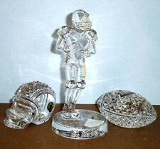 Waterford Crystal Football-Helmet & Football Player 3-Piece Set New In Boxes