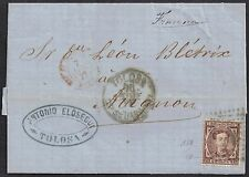 Spain 1876 25c King Alfonso XII sg 241 cover Tolosa to Avingnon