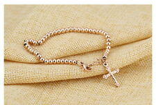 Rose Gold Beads Chain Jesus Cross Bracelet