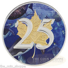 25th Anniversary 2013 Maple Coin .9999 1 oz Ounce Silver 24K Gold Gilded Aquatic