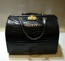 WOW Vintage Gucci Black Crodocile & Gold Plated Doctor Bag Circa 1970s