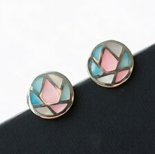 Mother of Pearl Studs, 925 Sterling Silver, Mosaic Round Studs, Oval Earrings,