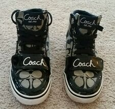 Black high top coach sneakers with strap size 6B