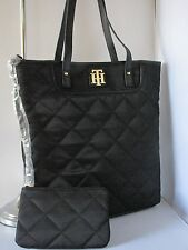 NWT TOMMY Hilfiger black medium quilted tote w/ wallet pouch bag