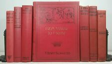 1922~CHARLES DICKENS~Antique Red 7 Book Lot~Old Decorative Set~BIRD NEIGHBORS