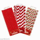 25x CHRISTMAS PAPER DRINKING STRAWS STRIPE POLKA CHEVRON SNOWFLAKES XMAS PARTY