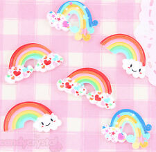 6 x Cute Kawaii Style Rainbow Flatback Cabochons Decoden Embellishments Crafts