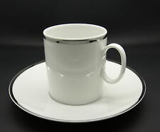 "Thomas Bavaria Medaillon Platinum Band thick white Porcelain Flat Cup 3"" Saucer"
