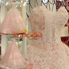 2017 New Pink Formal Wedding Dress Bridal Ball Gown Dresses Long Train Size 2-28