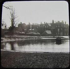 Glass Magic Lantern Slide THE POND IPSWICH  C1910 PHOTO SUFFOLK