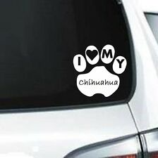 A138 I Love My Chihuahua dog paw  vinyl decal for car truck