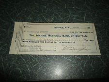 RARE Used  Cheque or Money Order The Marine National Bank of Buffalo Dated 1919