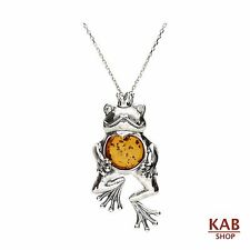 "BALTIC AMBER STERLING SILVER 925 PENDANT FROG +18""chain KAB-80.2p.c"