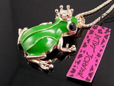 Betsey Johnson shiny crystal green frog prince pendant Necklace # F307A