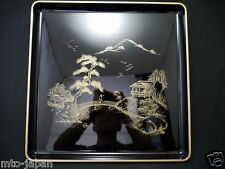 JAPANESE TRADITIONAL LACQUER RESIN LANDSCAPE MAKIE 14.25 x14.25 INCHED TRAY(1215