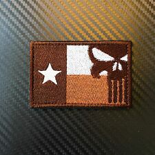 EMBROIDERED TEXAS FLAG PUNISHER MORALE PATCH W VELCRO® BRAND HOOK NAVY SEAL ARMY