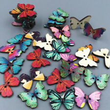 50Pcs Beauty Wooden Butterfly Phantom Buttons 2 Holes Scrapbooking Sewing Craft%