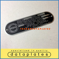 DODGE CHRYSLER CORPORATION TRUCKS DATA PLATE 1948 - 1951 POWER WAGON ID TAG T137