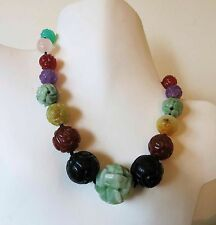 VINTAGE ANTIQUE CHINESE CARVED BEADS JADE JET CARNELIAN AMETHYST MORE NECKLACE
