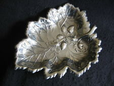"VINTAGE 10.75"" SILVER PLATED LEAF SHAPED 'STRAWBERRY BOWL' c.1950's"