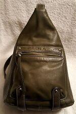 TIGNANELLO Forest Green Leather Convertible Sling Backpack Shoulder Bag Boho