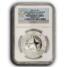 2015 P US Marshals NGC PF69 UC First Day of Issue  Proof Silver Dollar