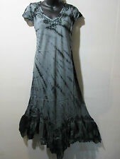 Christmas Holiday Dress Fit XL 1X 2X 3X Plus Long Black Gray Lace Hem NWT 663