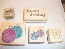 5 Christmas Wooden Craft Stamps - Baubles, Presents & Sentiment