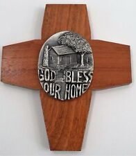 Modernist Wooden Holy Cross God Bless Our Home Pewter Medallion Wedding Marriage