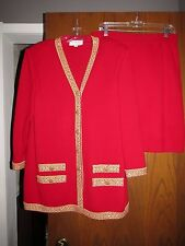 St. John Evening Red Gold Embroidery Rhinestone Buttons Jacket Skirt Suit 14 12