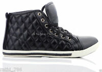 LADIES WOMEN GIRLS NEW HI HIGH TOP FLAT PUMP ANKLE TRAINERS SHOES SIZE UK 4-8