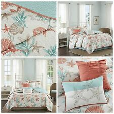 Full/Queen Size Coral Blue Coastal Starfish Quilted Coverlet 6 Piece Bedding Set