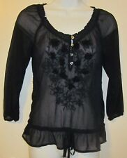 Hollister Womens Navy Blue Semi-Sheer Embroidery 3/4 Sleeve Top/Blouse Sz XS~EC,