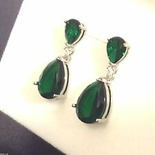 H10 Large Green Emerald Pear, Silver Dangle Drop Earrings (white gold GF) BOXED
