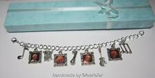 Status Quo fan charm bracelet unique gift silver plated adjustable photo charms