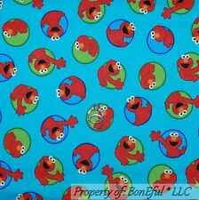 BonEful Fabric Cotton Quilt VTG Blue Red Green Elmo Dot Sesame Street Baby SCRAP