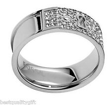 NEW FOSSIL SILVER TONE S/STEEL KEYHOLE RING+CRYSTAL PAVE SIZE 7 JF00193040