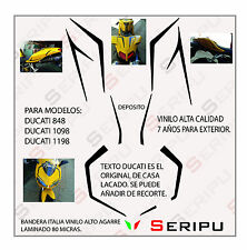 KIT DUCATI 848, 1098,1198 DECAL STICKER  VINILO RECORTE PEGATINA MOTO GP. ENDURO
