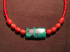 19/20c antique Natural Tibetan Turquoise and coral beads necklace #92601