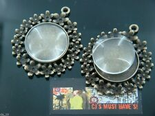 2 x LARGE FLOWER ANTIQUE BRONZE PENDANT CAMEO SETTING WITH 25MM GLASS CABOCHON