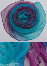 New Fashion Purple Blue Gradient 100% Silk Scarf 62'' x 20 ''