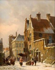 Adrianus  Eversen  Dutch Town In Winter    - 24'  CANVAS