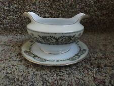 Vintage Gravy Boat Bowl with Underplate by Meito China Paris Grey Pattern