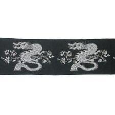 "1.1/4""(32mm) Black & Metallic Silver Dragon Design Jacquard Trim  x 1yd"